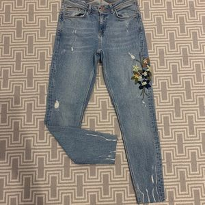 Zara skinny jeans with floral detail